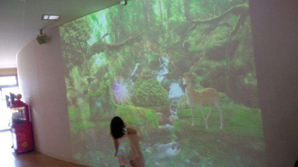 サーモンパーク千歳の屋内の投影スクリーン