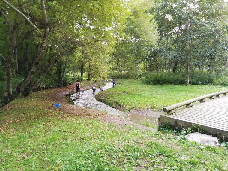 古山貯水池オートキャンプ場の川